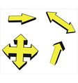 yellow arrow icons vector image vector image