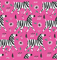 zebra flat hand drawn seamless pattern vector image vector image