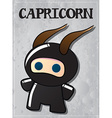 Zodiac sign Capricorn with cute black ninja vector image vector image