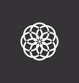 White floral logo template abstract black vector image