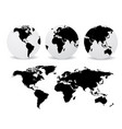 abstract globes with abstract world map vector image vector image