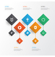 audio icons set collection of timbrel phonograph vector image vector image