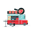 bbq food truck street meal vehicle fast food vector image vector image