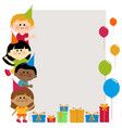 birthday banner with kids vector image vector image