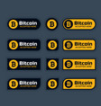 bitcoins cryptocurrency buttons or labels set vector image vector image