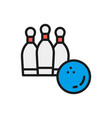 bowling ball with skittles flat color line icon vector image