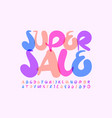 bright poster super sale playful font vector image vector image