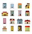 buildings set in cartoon flat style vector image vector image