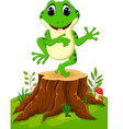 cartoon funny frog sitting on tree stump vector image vector image
