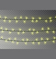 christmas yellow lights string transparent effect vector image vector image