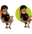Cute young African American office woman on chair vector image