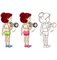 doodle character for woman doing weight training vector image vector image