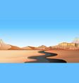empty road through desert land vector image vector image