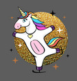 fantasy skating unicorn cartoon style vector image vector image