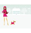 fashion winter girl walk with her dog vector image