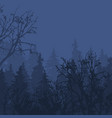 foggy forest in gloomy landscape natural outdoor vector image