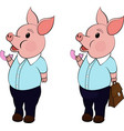 funny pig with donutpork isolated on white vector image vector image