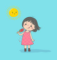 girl with watermelon ice cream vector image