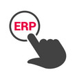 hand presses the button with text erp vector image vector image