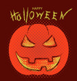 happy halloween with pumpkin and text vector image