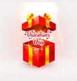 happy valentines day open gift vector image vector image