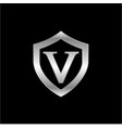 initial v with shield metal metallic silver logo vector image