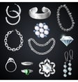 Jewelry Silver Set vector image vector image
