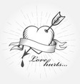 love hurts valentines day - heart with arrow vector image