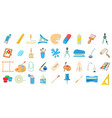 paint tools icon set cartoon style vector image vector image