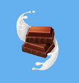 pieces of chocolate in milk spiral splash vector image vector image