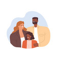 portrait happy mixed-race family smiling vector image vector image