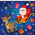 Santa Claus on sledge with reindeer vector image vector image