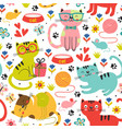 seamless pattern with colorful cats in flowers vector image