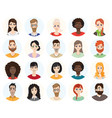 set diverse round avatars on white background vector image vector image
