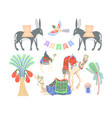 set egyptian symbols - camels palms donkeys vector image