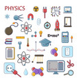 set of scientific physics flat icons vector image