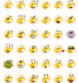 set of yellow beach ball character emojis vector image vector image