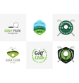 set vintage color golf championship logos vector image vector image