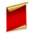 sheet of red parchment paper with golden edges vector image vector image