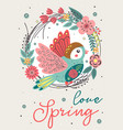 spring card with beautiful bird in floral frame vector image vector image