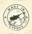 Stamp with map of Cyprus vector image vector image
