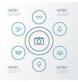summer outline icons set collection of armature vector image vector image