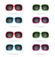 sunglasses colored wiyh eyes set vector image vector image