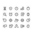 Time management line icons stopwatch alarm and