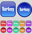 Turkey icon sign A set of twelve vintage buttons vector image vector image