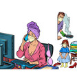 woman work at home freelance epidemic self vector image