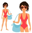 young cute girl in swimsuit vector image vector image