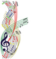 Music notes composition stylish musical theme vector image