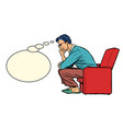 a man sits in a chair and thinks vector image vector image