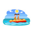 banana boat summer activity vector image vector image